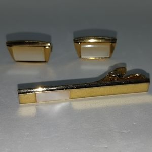 Gold Vermeil Cufflinks and Tie Clip